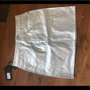 Rag and bone leather metallic skirt